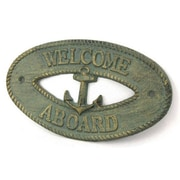 Handcrafted Nautical Decor Welcome Aboard Sign Wall D cor; Antique Bronze