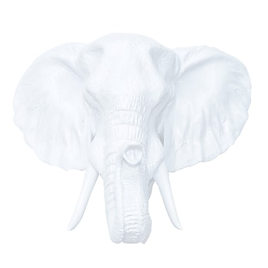 Near and Deer Faux Taxidermy Resin Elephant Head Wall D cor; White
