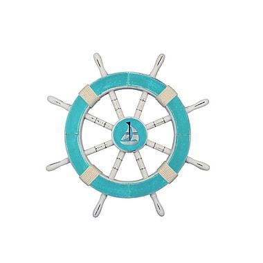 Handcrafted Nautical Decor Decorative Ship Wheel w/ Sailboat Sculpture; Light Blue / White