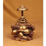 Miami Mumbai Brass Series Laughing Buddha Sitting on Chair w/ Umbrella Figurine