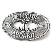 Handcrafted Nautical Decor Welcome Aboard Sign Wall D cor; Antique Silver