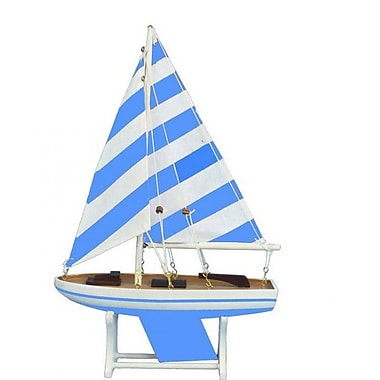 Handcrafted Nautical Decor It Floats Model Sailboat; Blue