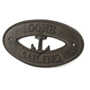 Handcrafted Nautical Decor Gone Sailing Sign Wall D cor; Cast Iron