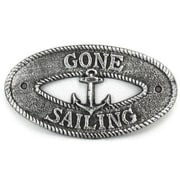 Handcrafted Nautical Decor Gone Sailing Sign Wall D cor; Antique Silver