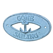 Handcrafted Nautical Decor Gone Sailing Sign Wall D cor; Dark Blue