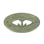 Handcrafted Nautical Decor Mermaids Quarters Sign Wall D cor; Antique Bronze