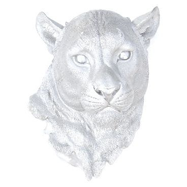 Near and Deer Lion Head Faux Taxidermy Wall D cor; Silver