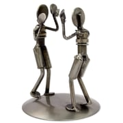 Novica Rustic Boxing Match Recycled Auto Part Sculpture