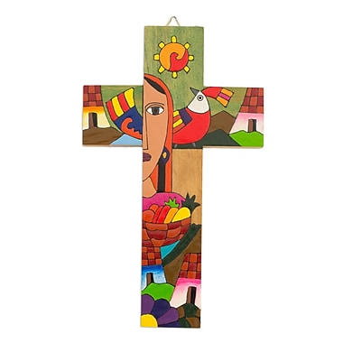 Novica Blessed Mary Hand Crafted Central American Christianity Wood Cross Wall D cor