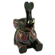 Novica Elephant Charm Lacquered Wood Statue