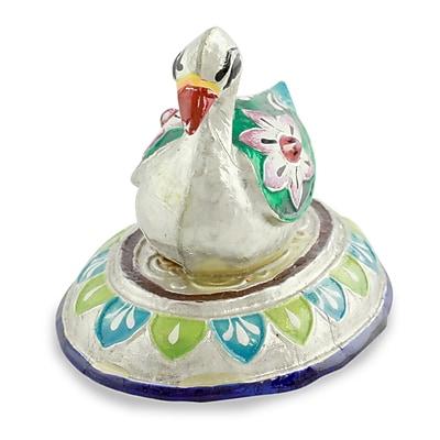 Novica Varanasi Duck Meenakari Enamel on Sterling Silver Figurine