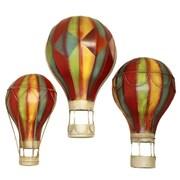 EC World Imports 3 Piece Grand Spectacular Hot Air Balloons Metal Art Wall Decor Set
