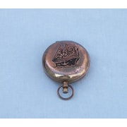 Handcrafted Nautical Decor Decorative Ship Scout's Push Button Compass; Antique Copper