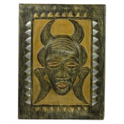 Novica Wood and Metal Plaque of Man w/ Horn Mask Wall D cor