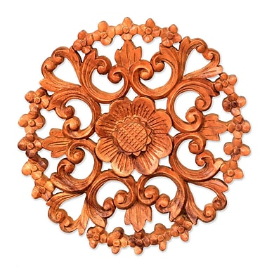Novica Halo of Flowers Balinese Artisan Hand Carved Floral Wood Relief Panel Wall D cor
