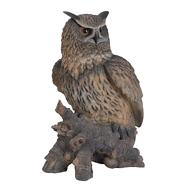 Hi-Line Gift Ltd. Eagle Owl on Stump Statue
