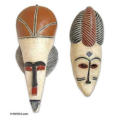 Novica Nigerian 2 Piece Spirit Feast Wood Mask Wall D cor Set