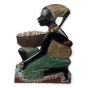 Novica Good African Mother Hand Painted Mother and Child African Wood Sculpture Wall D cor