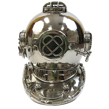 EC World Imports Reproduction Chrome Finish U.S. Navy Mark V Aluminum Diving Helmet Sculpture