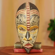 Novica Abdul Aziz Mohamadu My Beautiful Lover Handcrafted Nigerian Wood Mask Wall Decor