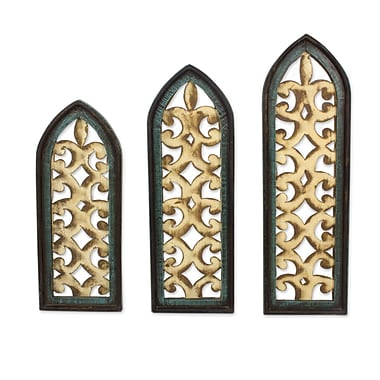 Novica 3 Piece Gothic Romanticism Hand Crafted Sheet Metal and Pinewood Wall D cor Set