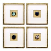 Empire Art Direct 4 Piece Rose, Smoke, Blue, Cosmo Geodes Wall D cor Set