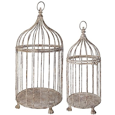 EsschertDesign 2 Piece Aged Metal Decorative Bird Cage Set