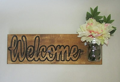 Established 98 ''Welcome'' Wall Decor w/ Glass Vase