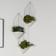 Kate and Laurel Tain Geometric Metal Wall Hanging Planter Wall D cor; White