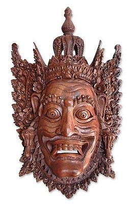 Novica Rahwana the Demon King Cultural Wood Mask Wall D cor