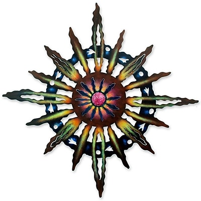 Novica Psychedelic Sun Hand Crafted Steel Wall D cor