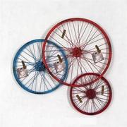 Wilco Home Triple Metal Bike Wheel Sculpture Wall D cor