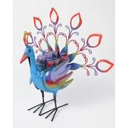 MyAmigosImports Recycled Fancy Metal Peacock Figurine