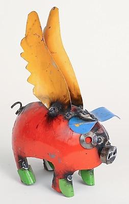 MyAmigosImports Mini Recycled Metal Flying Pig Figurine