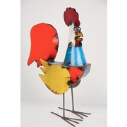 MyAmigosImports Large Recycled Metal Rooster Figurine