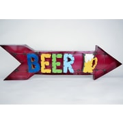 MyAmigosImports Beer Arrow Recycled Metal Sign Wall Decor