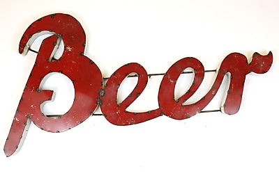 MyAmigosImports Large Beer Recycled Metal Sign Wall Decor