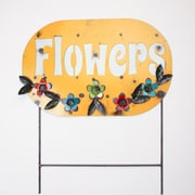 MyAmigosImports Flowers Recycled Metal Sign Wall Decor