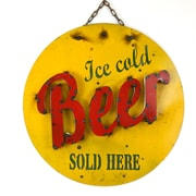 MyAmigosImports Ice Cold Beer Recycled Metal Sign Wall Decor