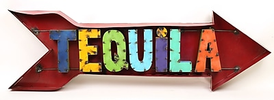 MyAmigosImports Tequila Arrow Recycled Metal Sign Wall Decor