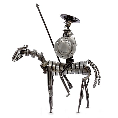 Novica Don Quixote Recycled Metal Auto Parts Art Statue