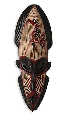 Novica African Giraffe Spirit Ii Hand Carved Wood Mask Wall D cor