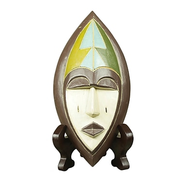 Novica African Wood Mask of Patience w/ Stand Sculpture