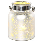 River of Goods Large Mercury Glass Lit Star Decorative Jar; White