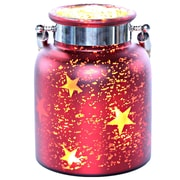 River of Goods Large Mercury Glass Lit Star Decorative Jar; Red