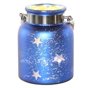 River of Goods Large Mercury Glass Lit Star Decorative Jar; Blue