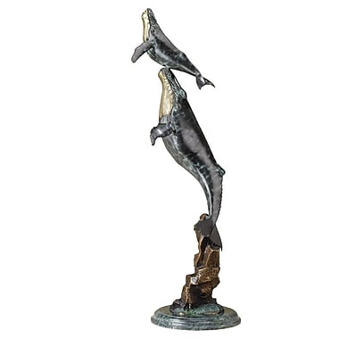 SPI Home Double Whale on Wave Statue