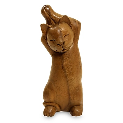 Novica Handcrafted Wood Cat Figurine