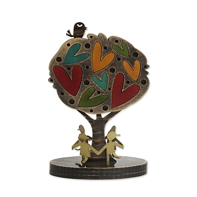 Novica Tree w/ Hearts And Bird Sculpture