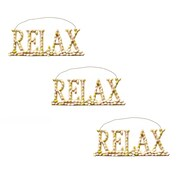 SheasWildflowers 3 Piece Relax Sign on Wire Hangers Wall D cor Set (Set of 3)